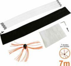 Oranje MonsterShop Maxblast Nylon elektrische schoorsteen borstel - 7 meter - schoorsteenveger - roterende booraandrijving - GRATIS stofzeil en opbergzak