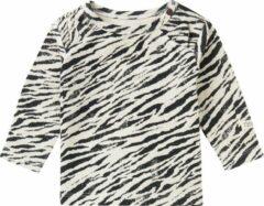 Noppies baby longsleeve Macon met zebraprint wit/zwart