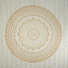 "Sankalpa® Biologisch katoen Groot Mandala kleed ""Gold"" 225 x 200 m – Bedsprei – Strandlaken - Picknickkleed - Wanddecoratie – Groot wandkleed -goud met wit"