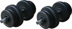 RS Sports Dumbellset – Halterset kunststof – Totaal 20 kg – 2 stuks – zwart