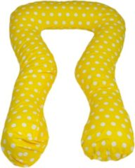 Go Go Momi Voedingskussen / Zwangerschapskussens | U-vorm 300 cm | Geel met witte bollen