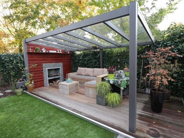 Afbeelding van Van Kooten Tuin en Buitenleven Profiline terrasoverkapping - vrijstaand - 400x350 cm - polycarbonaat dak