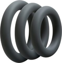 Grijze Doc Johnson - Optimale - 3 C-Ring Set - Thick - Slate