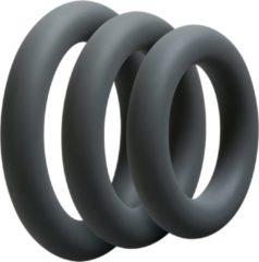Grijze Doc Johnson - Optimale - 3 C-Ring Set - Thick - Slate