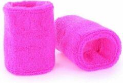 Merkloos / Sans marque Pols zweetbandjes neon roze voor volwassenen 2 stuks