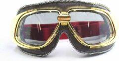 Ediors retro goud, bruin leren motorbril | Zilver reflectie glas
