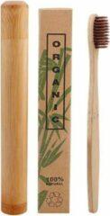 Btp Bamboe tandenborstel bruin met bamboe reiskoker | Medium soft | Biologisch Afbreekbaar |