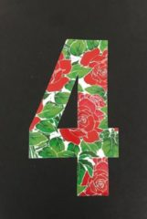 Rode Huisnummer sticker Rozen 4, Rozen sticker nr. 4, huisnummer cijfers - afvalbak nummers- kliko cijfer vier- container nummers- coverart- plakcijfers- rozen huisnummer- brievenbus nummers, CoverArt