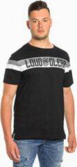 LOUD AND CLEAR T Shirt Heren Zwart Grijs Wit - Ronde Hals - Korte Mouw - Met Print - Met Opdruk - Maat S