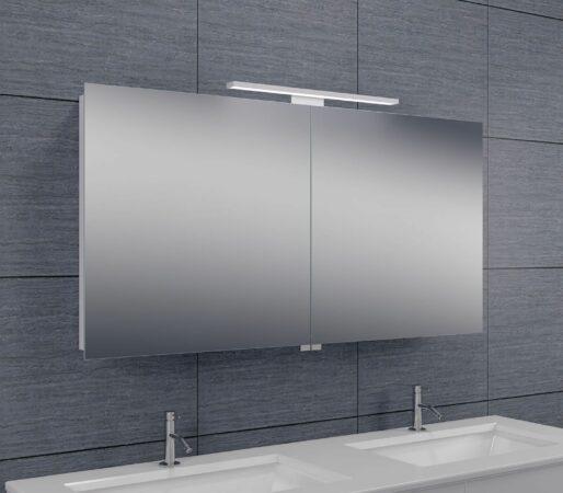 Afbeelding van Douche Concurrent Spiegelkast Larissa 120x60x14cm Aluminium LED Verlichting Stopcontact Binnen en Buiten Spiegel Glazen Planken