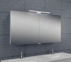 Douche Concurrent Spiegelkast Larissa 120x60x14cm Aluminium LED Verlichting Stopcontact Binnen en Buiten Spiegel Glazen Planken