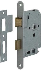 Nemef badkamerdeurslot 1264/4 rechts - Doornmaat 50mm - Wit gelakte voorplaat - Met sluitplaat - Met bevestigingsmateriaal - In zichtverpakking