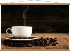 Beige KuijsFotoprint Schoolplaat – Kopje Koffie met Koffiebonen - 120x80cm Foto op Textielposter (Wanddecoratie op Schoolplaat)
