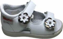 Zilveren Falcotto bloempjes velcro sandalen 1625 wit mt 26