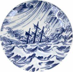 Blauwe Royal Delft Schiffmacher Royal Blue Tattoo Sailor's Grave ontbijtbord 24 cm