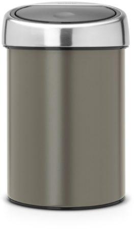 Afbeelding van Brabantia Touch Bin Prullenbak - 3 l - Platinum met Matt Steel deksel