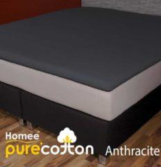 Antraciet-grijze Homee Homéé ® Topper Hoeslaken Jersey Stretch 160g.m2 - antraciet - 90x200/210/220-10+20cm