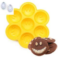 Gele KOOZIE Smiley's vorm voor ijsklontjes chocolade