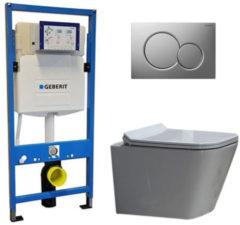 Douche Concurrent Geberit UP 320 Toiletset - Inbouw WC Hangtoilet Wandcloset - Alexandria Flatline Sigma-01 Mat Chroom