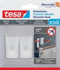Transparante Tesa Klevende Haak, draagkracht 0,5 kg, behang en pleisterwerk, wit, 2 haken en 3 strips