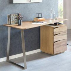 Wohnling Schreibtisch FARON 1150x67x76 cm Eiche Massivholz Tischplatte Nierenförmig Bürotisch mit Schubladen Modern Computertisch Massiv Nierentisc