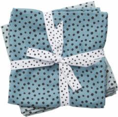 Blauwe Done by Deer Happy dots spuugdoek hydrofiel 70 x 70 cm blauw (2 stuks)