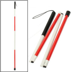 IPRee® 46inch 4 Sections Folding Blind Guide Cane Aluminum Walking Climbing Sticks Wrist Strap Reflector