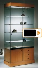 HMG Supplies Vitrine Floatglas Volglas Nova 6 OZ met onderkast zwart zonder verlichting