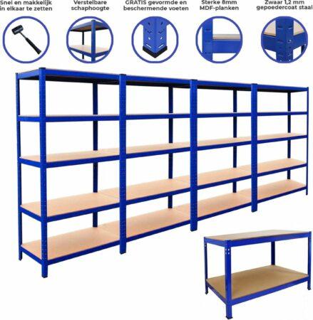 Afbeelding van MonsterShop Bundel: 4 x T-Rax Stalen Stellingen 180cm(h) x 90cm(b) x 45cm(d) & Werkbank 90cm(h)x 120cm(b)x 60cm(h) - Kleur: Blauw - Hoogte verstelbaar - 1400 kg capiciteit