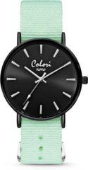 Colori XOXO 5 COL548 Horloge geschenkset met Armband - Nato Band - Ø 36 mm - Mint Groen / Zwart