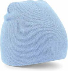 Beechfield Warme gebreide Beanie wintermuts in het lichtblauw voor volwassenen - Damesmutsen / herenmutsen - 100% polyacryl - Basic line