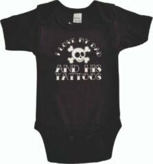 """Merkloos / Sans marque Zwarte romper met """"I love my dad and his tattoos"""" - maat 68 - vader, vaderdag, babyshower, zwanger, cadeautje, kraamcadeau, grappig, geschenk, baby, tekst, bodieke"""