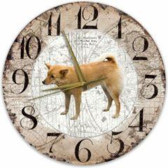 Bruine Creatief Art Houten Klok - 30cm - Hond - Finse Spits