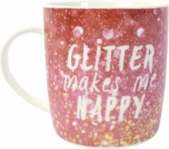 Fuchsia Something Different Glitter Makes Me Happy Mug Mok