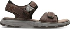 Clarks Un Trek Part Heren Sandalen - Dark Tan Lea - Maat 41.5