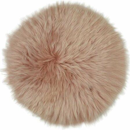 Afbeelding van Dutchskins Stoelkussen - zitkussen schapenvacht - stoelpad - zitpad - zetel kussen roze rond