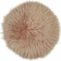 Dutchskins Stoelkussen - zitkussen schapenvacht - stoelpad - zitpad - zetel kussen roze rond