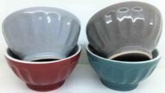 Donkergrijze YILTEX Kommetjes – Ø8,5 cm – 4 verschillende kleuren – Set Van 12st – Porselein – 8.5x8.5x4.5cm