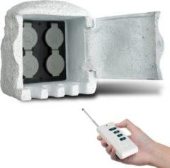 Witte VidaXL Buitenstopcontact kunststeen met afstandsbediening