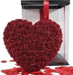 Donkerrode Ornina Rozen Hart Met Geschenkdoos Hoge Kwaliteit Rozenhart Rose Heart – 25cm – Wijn Rood – Cadeau – Gift – Verjaardag – Kunstbloemen – Liefde – Valentijn – Moederdag – Babyshower