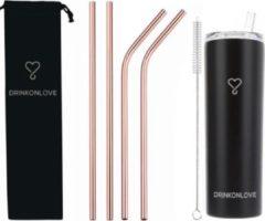 Roze Drink on love TEAM LEADER BLACK - Drinkbeker met rietjes - RVS - Zwart Zilver - Rosé goud- 12 uur koud - 6 uur warm - 600ML - 20,5 cm hoog