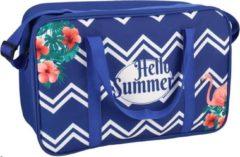 Gerimport Koeltas Hello Summer 40 Cm 18 Liter Polyester Blauw