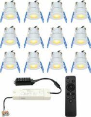 Grijze HOFTRONIC™ Complete LED inbouwspots set 12x3W 12V Mini 28 mm dimbare Milano IP65 spatwaterdicht voor Veranda, Badkamer, Tuinhuis en Woonkamer