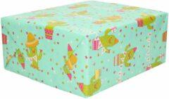 Shoppartners 3x Rollen Inpakpapier mint groen cactussen / happy birthday design - 70 x 200 cm - kadopapier / cadeaupapier