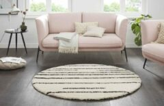 Creme witte Tapeso Rond hoogpolig vloerkleed strepen Moss - crème 160 cm rond