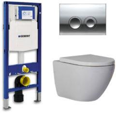 Douche Concurrent Geberit Up 100 Toiletset - Inbouw WC Hangtoilet Wandcloset - Shorty Delta 21 Glans Chroom