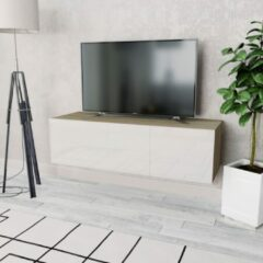 Bruine VidaXL Tv-kast 120x40x34 cm spaanplaat hoogglans wit en eikenkleur