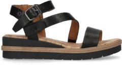 No Stress - Dames - Zwarte leren sandalen met sleehak - Maat 40