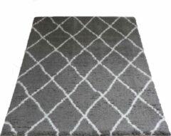 Grijze Veercarpets Vloerkleed Jeffie - 140 x 200 cm - Grey - Hoogpolig - Berber