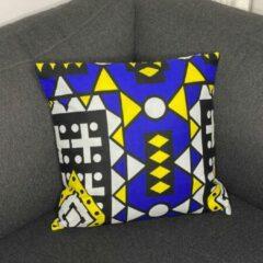 Afabs Afrikaans kussen | Blauwe Samakaka - Sierkussen 45x45 - 100% Katoen | Sierkussens 45x45 Kussenhoes | Binnenkussen 45 x 45 | Tribal kussen | African pillow